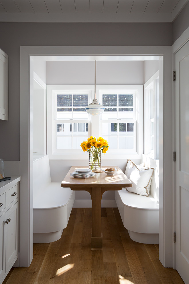 Inspiration for a small farmhouse light wood floor kitchen/dining room combo remodel in San Francisco with gray walls