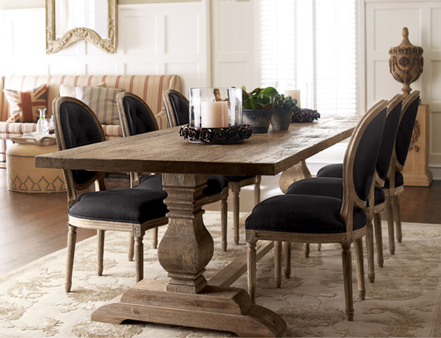 Natural Dining Table Black Linen Chairs Traditional Dining Room