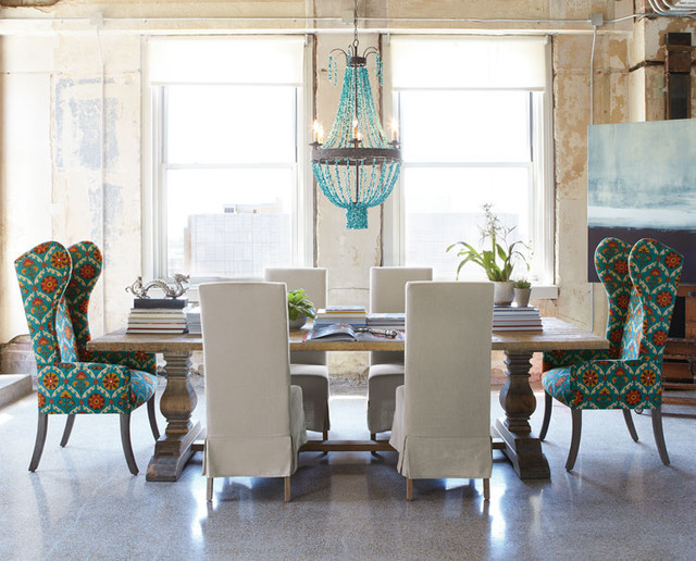Natural Dining Table & Upholstered Dining Chairs - Eclectic ...