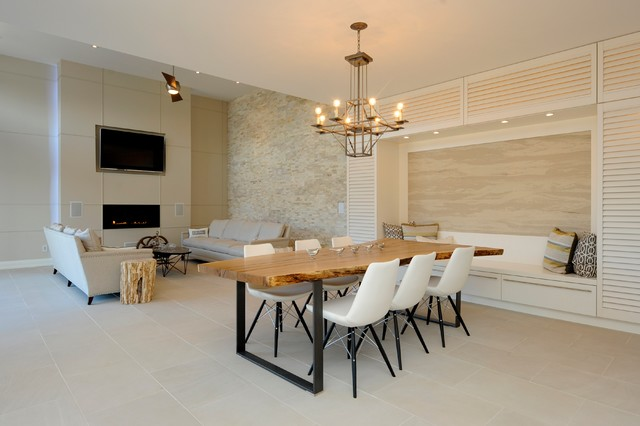 Natural Open Concept Dining And Living Room In Light Palette Contemporary