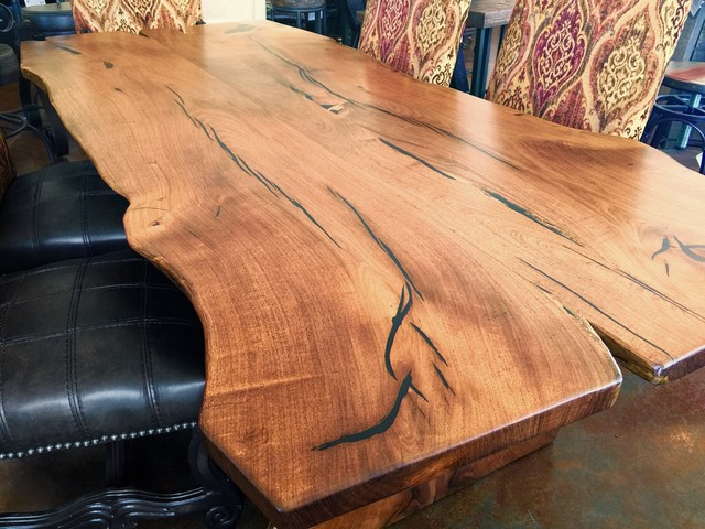 natural slab mesquite wood dining table