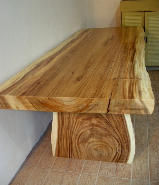 natural wood table rustic dining room houston by