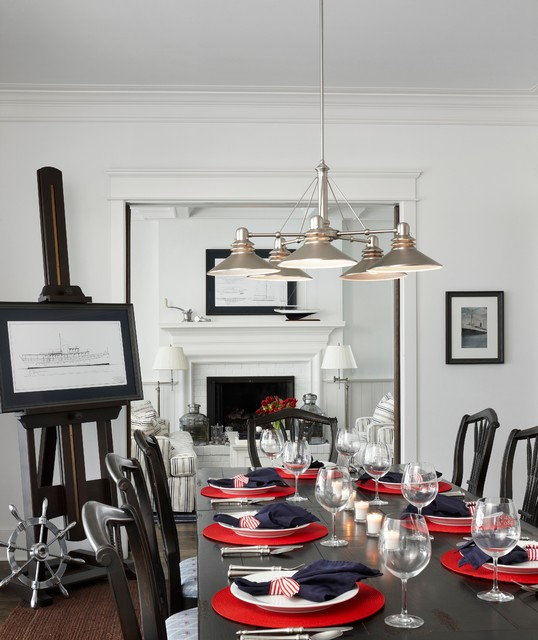 Nautical Navy Traditional Dining Room