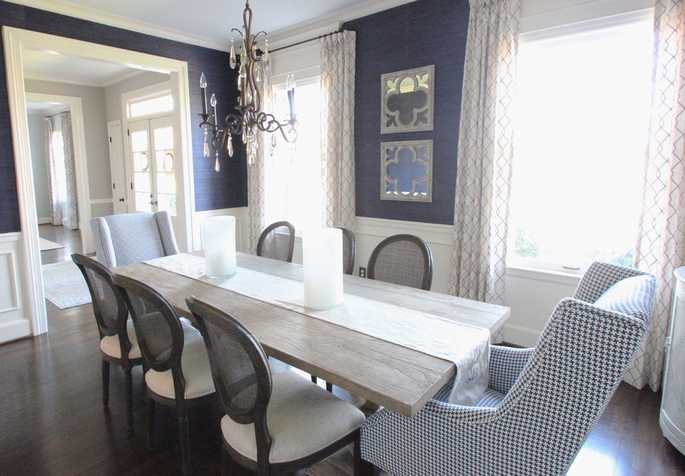 Navy Grasscloth Dining Room Transitional Dining Room Charlotte By New South Home