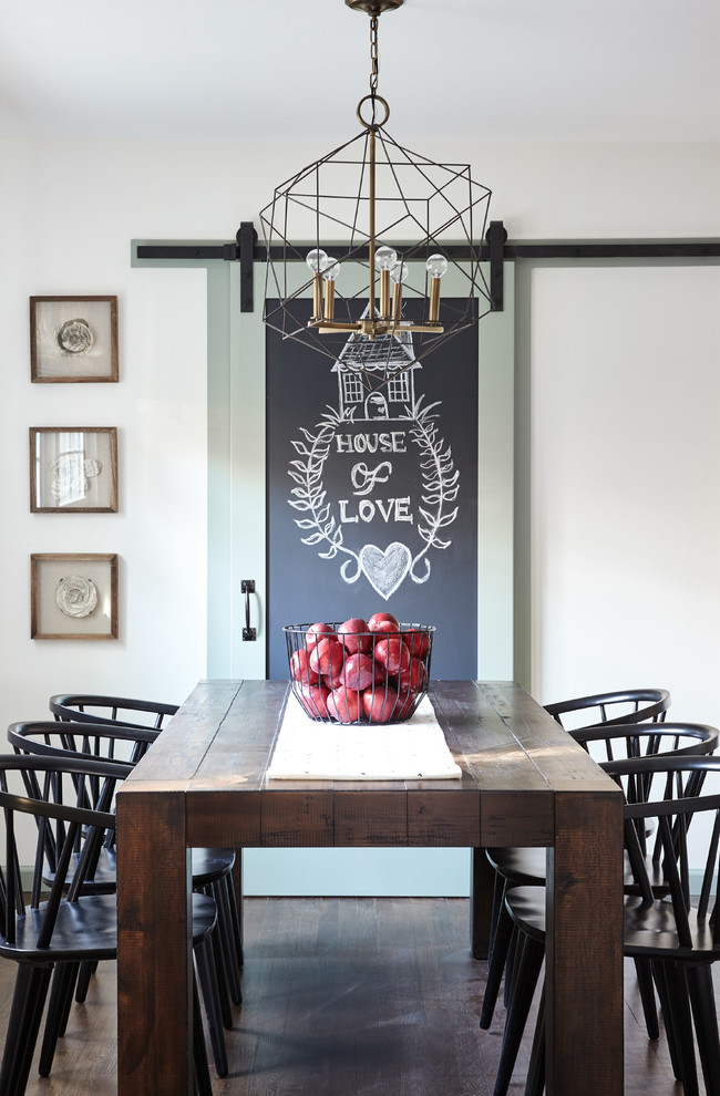 Kitchen/dining room combo - mid-sized farmhouse dark wood floor and brown floor kitchen/dining room combo idea in New York with white walls