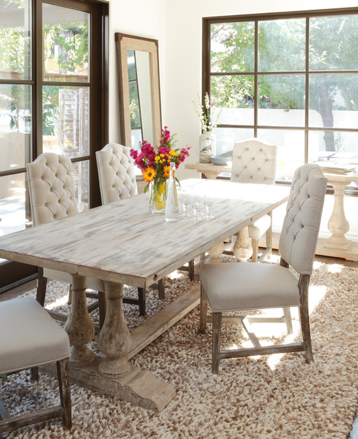 neutral and rustic windsor dining room - rustic - dining room
