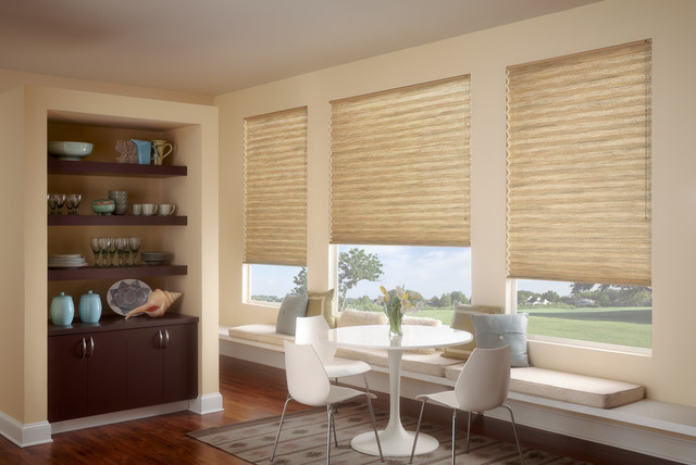 Neutral Color Cellular Shades Modern Dining Room San