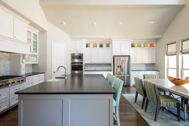 Neutral kitchen with splash of colors contemporary for Neutral colors for kitchen and dining room