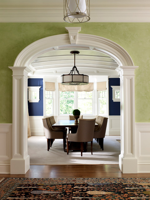 New canaan shingle style traditional dining room new for Designs of arches in living room