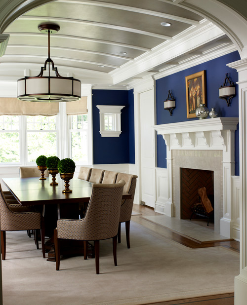 Decorating with navy blue town country living for Dining room navy blue