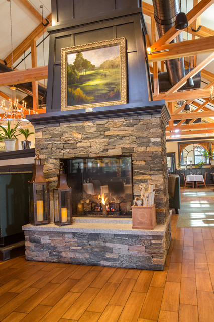 New england stone fireplace and stone oven at copper door for Traditional dining room fireplace