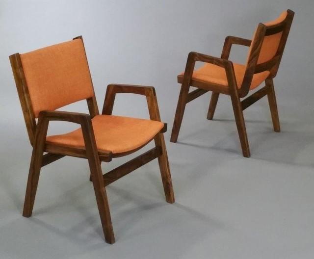 new mid century modern walnut stacking chair
