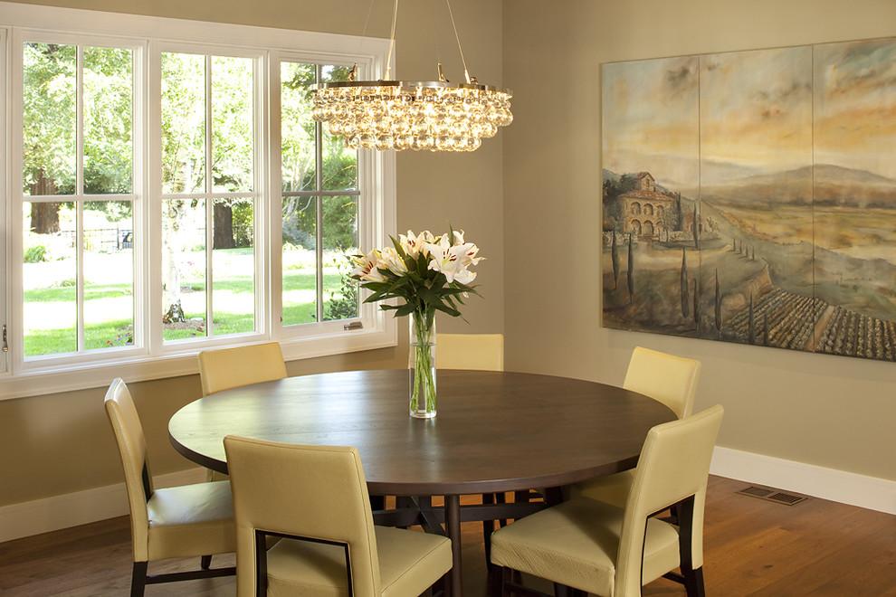 Dining room - contemporary medium tone wood floor dining room idea in San Francisco with beige walls