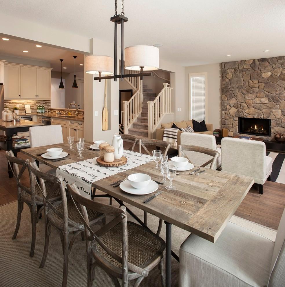 Example of a classic dark wood floor and brown floor great room design in Edmonton with beige walls