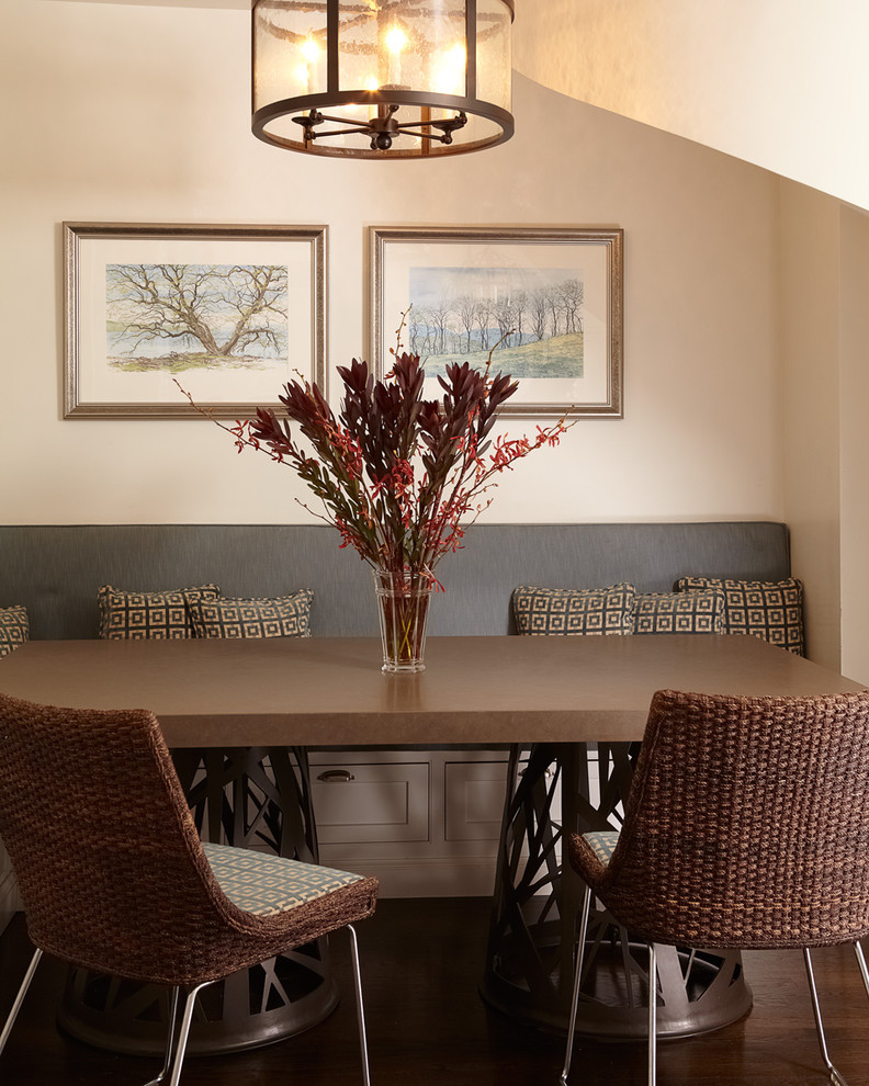Inspiration for a mid-sized contemporary dark wood floor enclosed dining room remodel in New York with beige walls