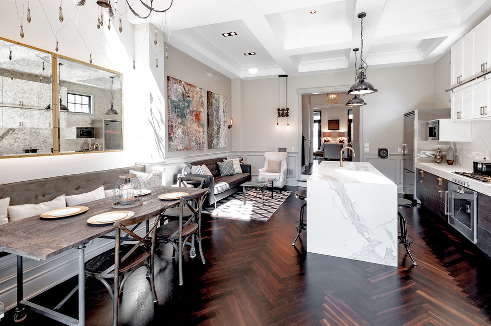 Great room - transitional medium tone wood floor great room idea in Toronto with white walls