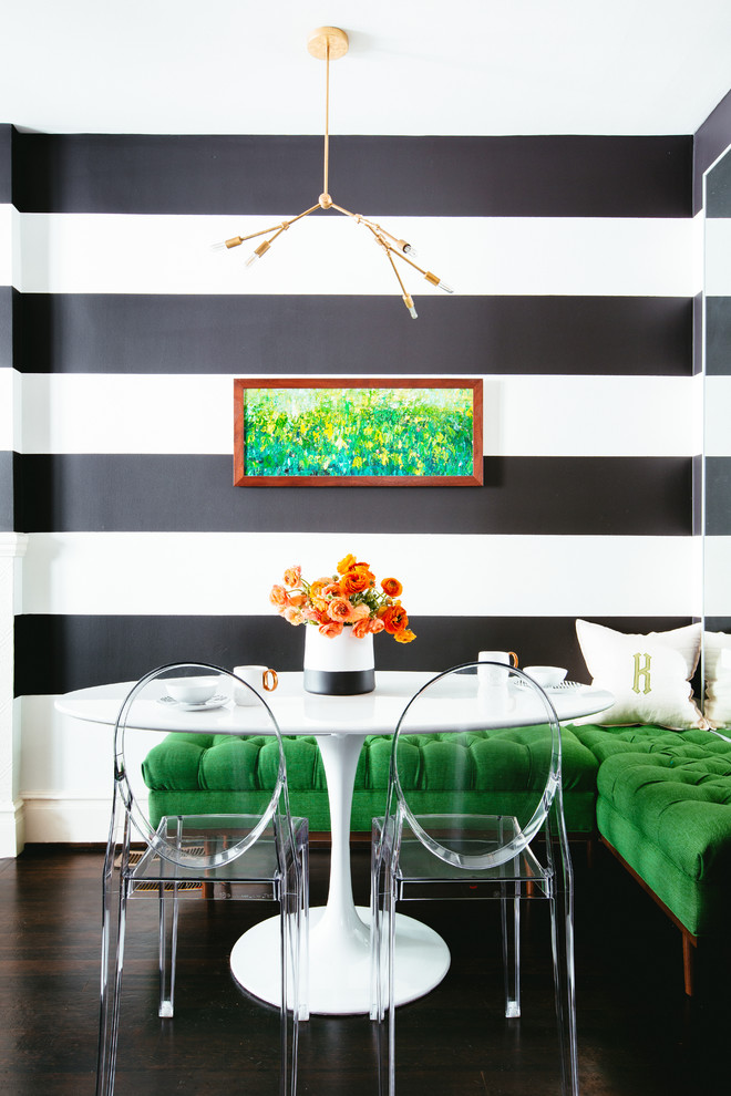 Dining room - contemporary dark wood floor dining room idea in San Francisco with multicolored walls