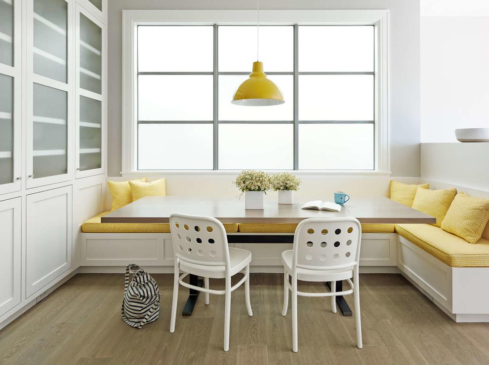 Transitional medium tone wood floor dining room photo in San Francisco