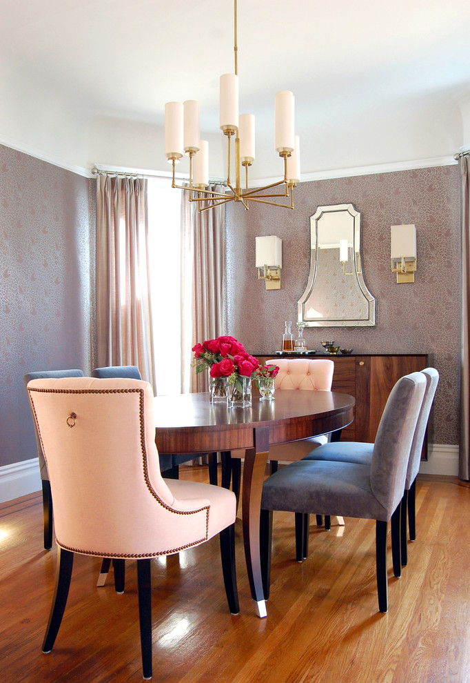 Mid-sized transitional medium tone wood floor enclosed dining room photo in San Francisco with metallic walls