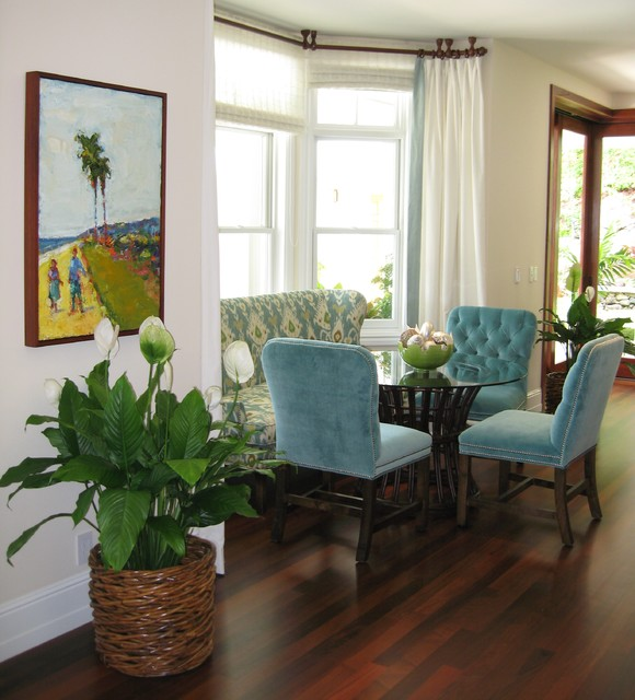 tropical dining room by d for design - Dining Room Table With Bench Against Wall