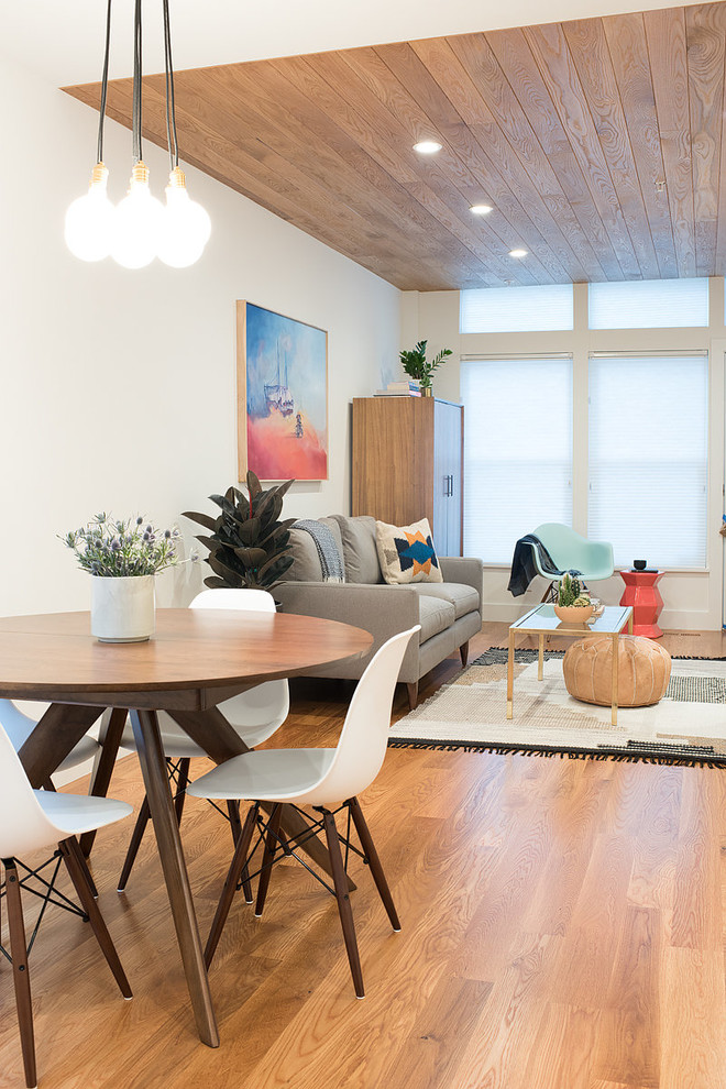 Inspiration for a small scandinavian light wood floor great room remodel in San Francisco with white walls