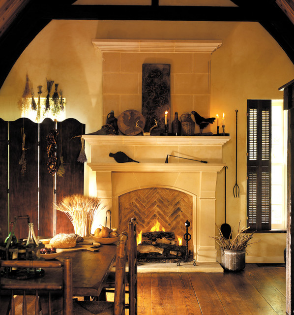Normandy cast stone fireplace mantel traditional for Traditional dining room fireplace