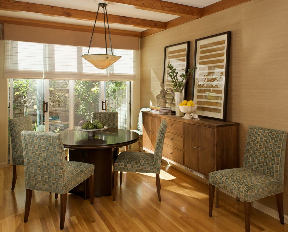 Inspiration for a contemporary medium tone wood floor dining room remodel in San Francisco