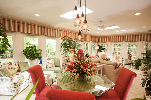 North carolina garden sunroom tropical dining room charlotte