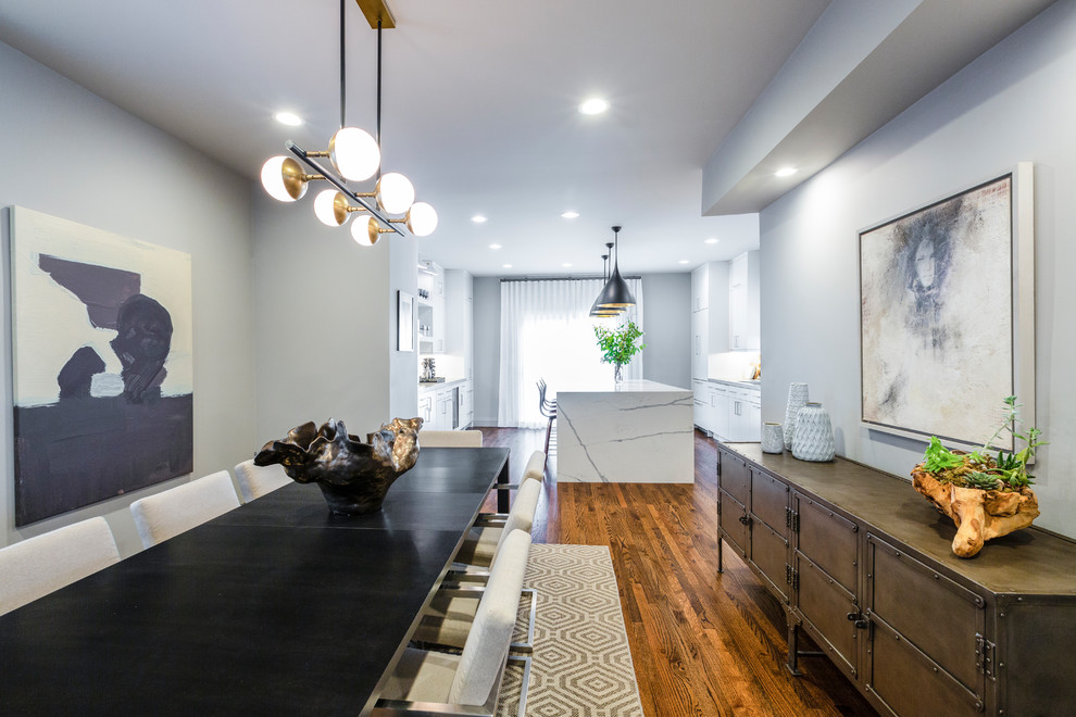 Mid-sized minimalist dark wood floor and brown floor kitchen/dining room combo photo in Chicago with gray walls and no fireplace