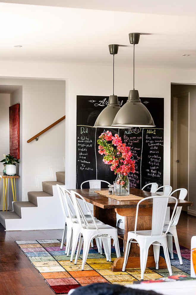 Great room - contemporary dark wood floor great room idea in Perth with white walls