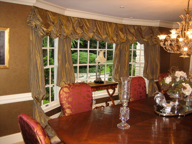 Dining room window treatments 2017 grasscloth wallpaper for Dining room window treatments