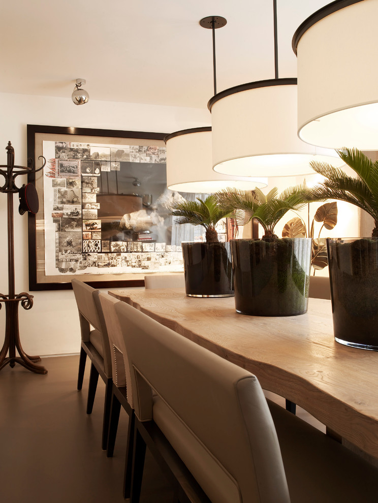 Design ideas for a contemporary dining room in London with white walls.