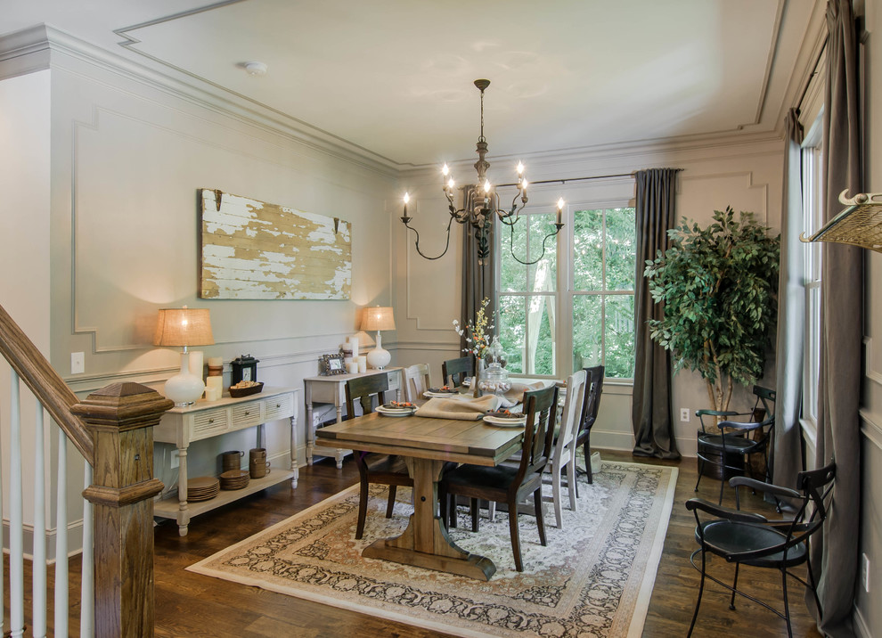 Dining room - transitional dining room idea in Nashville with white walls