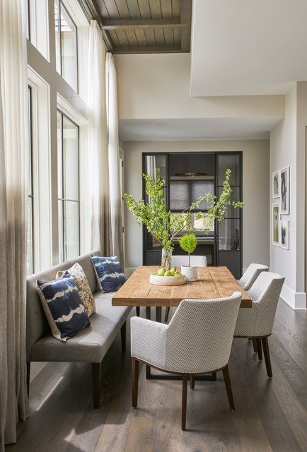 Dining room - transitional light wood floor and beige floor dining room idea in Chicago with beige walls