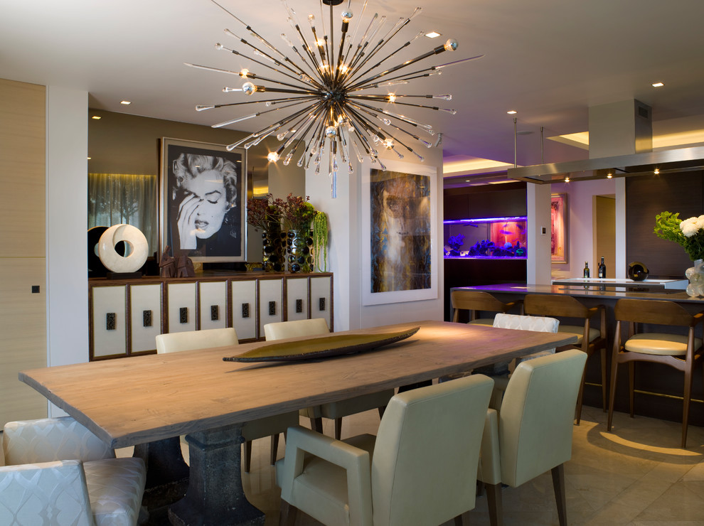 Inspiration for a contemporary kitchen/dining room combo remodel in Miami with white walls and no fireplace
