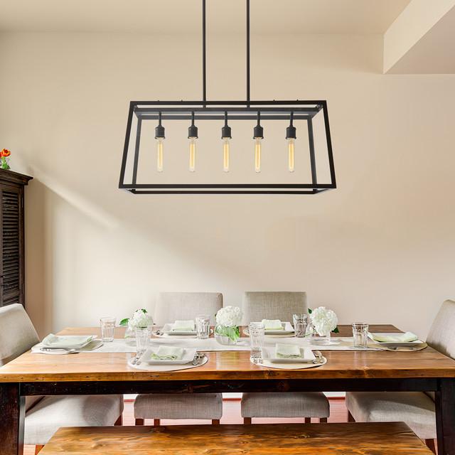 Linear Dining Room Lighting: Oiled Bronze 5-Light Roebling Linear Frame Chandelier Industrial