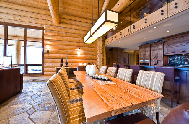 Okanagan log home rustic dining room calgary by