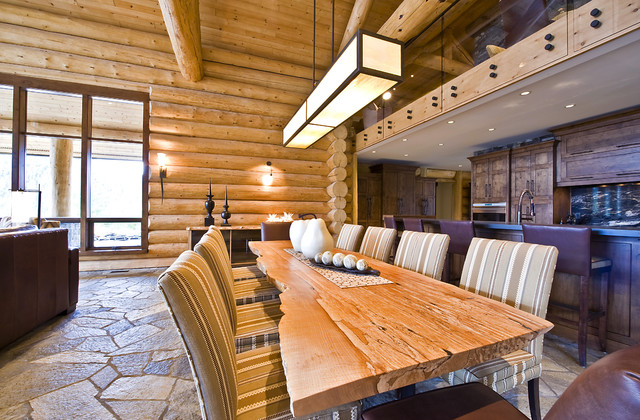 OKANAGAN LOG HOME rustic-dining-room