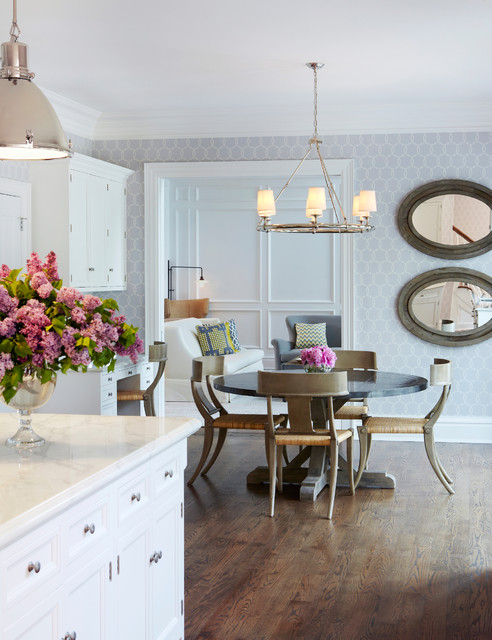Neoclassical Kitchen W Mirror Decor And Flower Vases The Dining Area Is Symmetrical Seating Image Credit Houzz