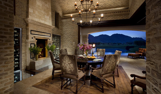 Old World Brick Dining Room And Fireplace Mediterranean