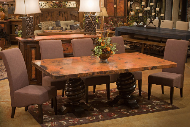 old world rustic copper dining table rustic dining room - Copper Kitchen Table