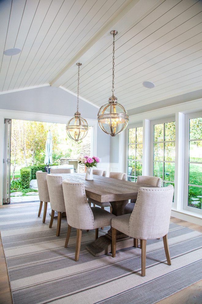 Enclosed dining room - mid-sized farmhouse light wood floor enclosed dining room idea in San Diego with gray walls