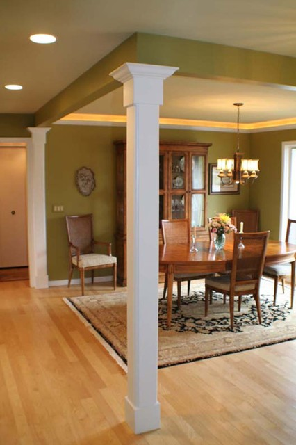 Open Dining Area Defined By Columns Traditional