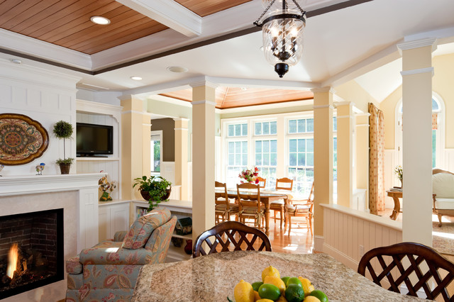 open floor plan view of breakfast room addition traditional dining room - Open Dining Room