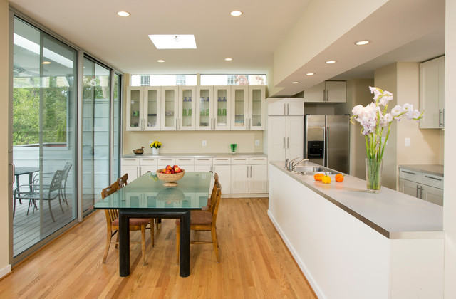Open galley kitchen and dining area contemporary Open dining room and kitchen designs