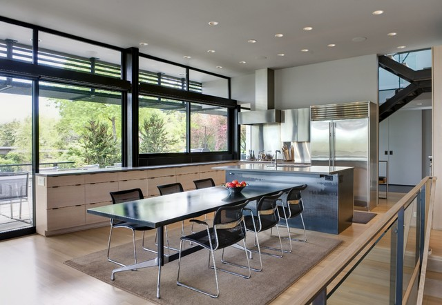 Open kitchen/ dining contemporary-dining-room
