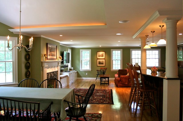 Open plan colonial addition traditional dining room for Open floor plan colonial