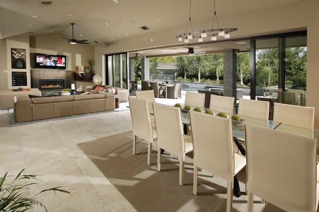 Open Plan Kitchen Contemporary Dining Room