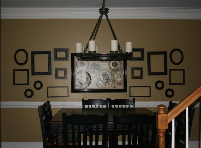 Open Wall Frame Feature Contemporary Dining Room