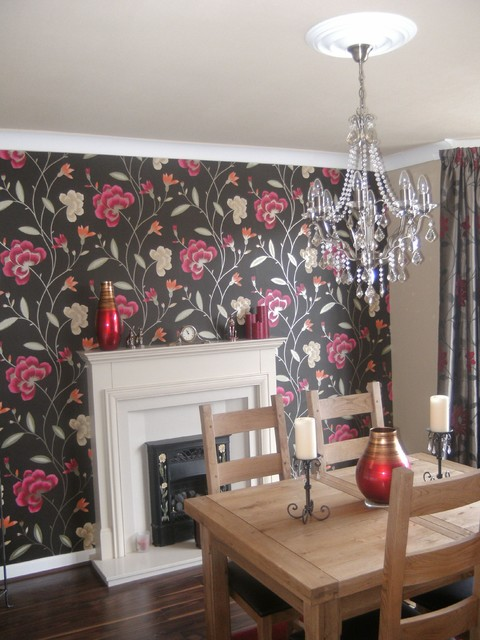 Opulent dining room with feature wall contemporary for Dining room feature wall ideas